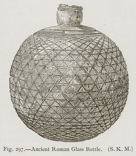 Ancient Roman Glass Bottle. Illustration for Historic Ornament by James Ward (Chapman and Hall, 1897).