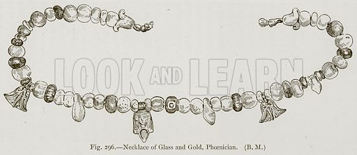 Necklace of Glass and Gold, Phoenician. Illustration for Historic Ornament by James Ward (Chapman and Hall, 1897).