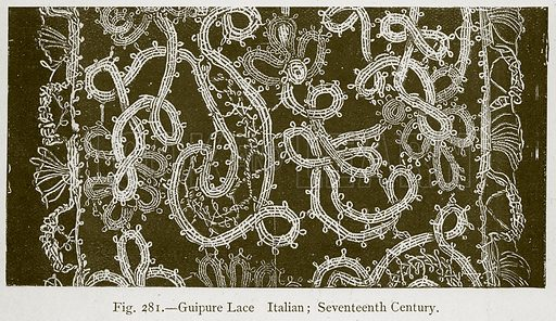 Guipure Lace Italian; Seventeenth Century. Illustration for Historic Ornament by James Ward (Chapman and Hall, 1897).