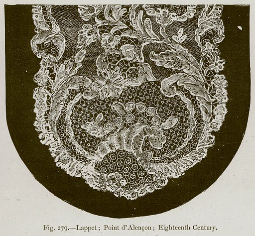 Lappet; Point d'Alencon; Eighteenth Century. Illustration for Historic Ornament by James Ward (Chapman and Hall, 1897).