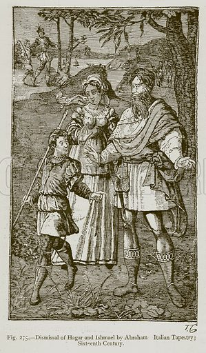 Dismissal of Hagar and Ishmael by Abraham Italian Tapestry; Sixteenth Century. Illustration for Historic Ornament by James Ward (Chapman and Hall, 1897).