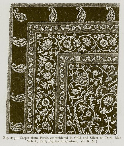 Carpet from Persia, Embroidered in Gold and Silver on Dark Blue Velvet; Early Eighteenth Century. Illustration for Historic Ornament by James Ward (Chapman and Hall, 1897).
