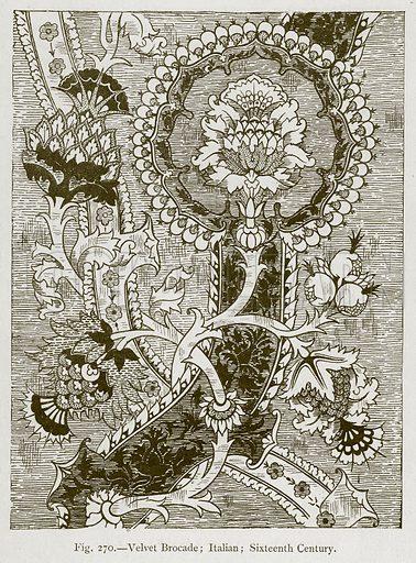 Velvet Brocade; Italian; Sixteenth Century. Illustration for Historic Ornament by James Ward (Chapman and Hall, 1897).