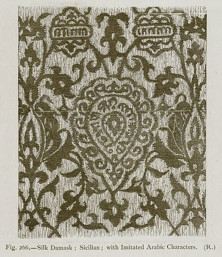 Silk Damask; Sicilian; with Imitated Arabic Characters. Illustration for Historic Ornament by James Ward (Chapman and Hall, 1897).