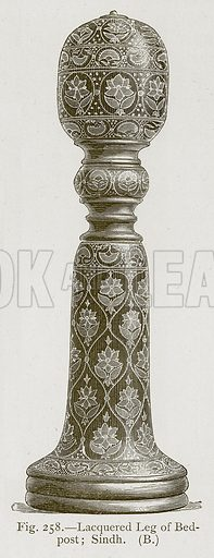 Lacquered Leg of Bedpost; Sindh. Illustration for Historic Ornament by James Ward (Chapman and Hall, 1897).