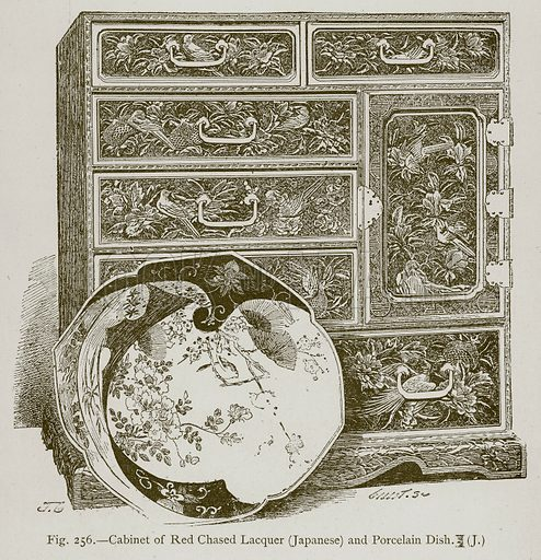Cabinet of Red Chased Lacquer (Japanese) and Porcelain Dish. Illustration for Historic Ornament by James Ward (Chapman and Hall, 1897).