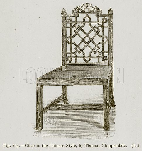 Chair in the Chinese Style, by Thomas Chippendale. Illustration for Historic Ornament by James Ward (Chapman and Hall, 1897).