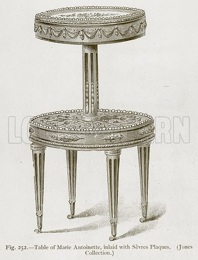 Table of Marie Antoinette, inlaid with Sevres Plaques. (Jones Collection.) Illustration for Historic Ornament by James Ward (Chapman and Hall, 1897).