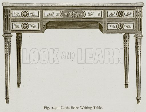 Louis-Seize Writing Table. Illustration for Historic Ornament by James Ward (Chapman and Hall, 1897).