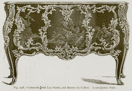 Commode, with Lac Panels, and Mounts by Caffieri. Louis-Quinze Style. Illustration for Historic Ornament by James Ward (Chapman and Hall, 1897).