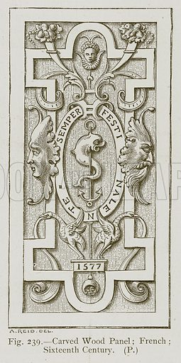 Carved Wood Panel; French; Sixteenth Century. Illustration for Historic Ornament by James Ward (Chapman and Hall, 1897).