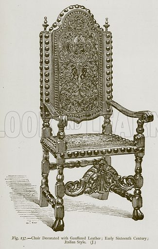 Chair Decorated with Gauffered Leather; Early Sixteenth Century; Italian Style. Illustration for Historic Ornament by James Ward (Chapman and Hall, 1897).