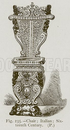 Chair; Italian; Sixteenth Century. Illustration for Historic Ornament by James Ward (Chapman and Hall, 1897).