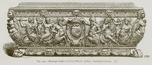 Marriage Coffer of Carved Wood; Italian; Sixteenth Century. Illustration for Historic Ornament by James Ward (Chapman and Hall, 1897).