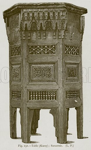 Table (Kursy); Saracenic. Illustration for Historic Ornament by James Ward (Chapman and Hall, 1897).