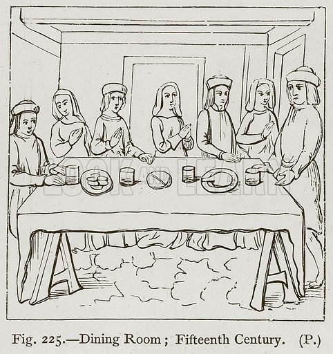 Dining Room; Fifteenth Century. Illustration for Historic Ornament by James Ward (Chapman and Hall, 1897).