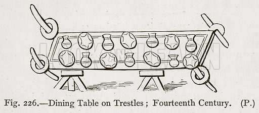 Dining Table on Trestles; Fourteenth Century. Illustration for Historic Ornament by James Ward (Chapman and Hall, 1897).
