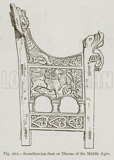 Scandinavian Seat or Throne of the Middle Ages. Illustration for Historic Ornament by James Ward (Chapman and Hall, 1897).
