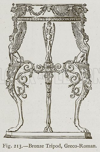 Bronze Tripod, Greco-Roman. Illustration for Historic Ornament by James Ward (Chapman and Hall, 1897).