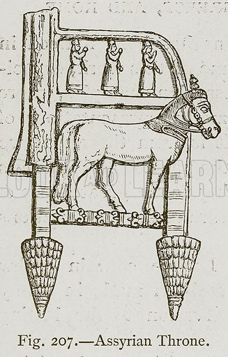 Assyrian Throne. Illustration for Historic Ornament by James Ward (Chapman and Hall, 1897).