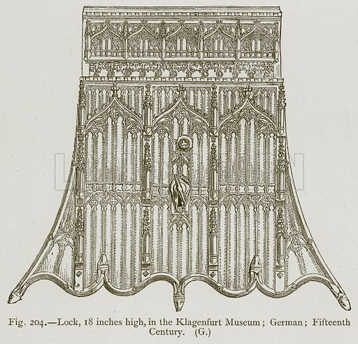 Lock, 18 inches high, in Klagenfurt Museum; German; Fifteenth Century. Illustration for Historic Ornament by James Ward (Chapman and Hall, 1897).