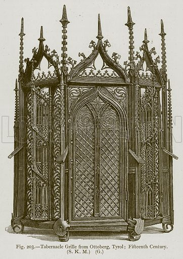 Tabernacle Grille from Ottoberg, Tyrol; Fifteenth Century. Illustration for Historic Ornament by James Ward (Chapman and Hall, 1897).