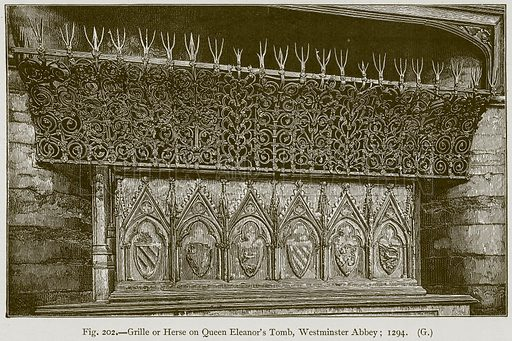 Grille or Herse on Queen Eleanor's Tomb, Westminster Abbey; 1294. Illustration for Historic Ornament by James Ward (Chapman and Hall, 1897).