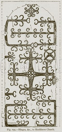 Hinges, &c. to Haddiscoe Church. Illustration for Historic Ornament by James Ward (Chapman and Hall, 1897).
