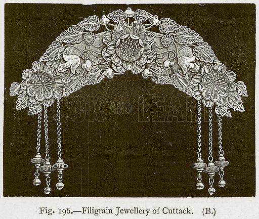 Filigrain Jewellery of Cuttack. Illustration for Historic Ornament by James Ward (Chapman and Hall, 1897).