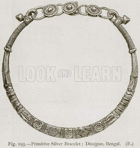 Primitive Silver Bracelet; Dinajpur, Bengal. Illustration for Historic Ornament by James Ward (Chapman and Hall, 1897).