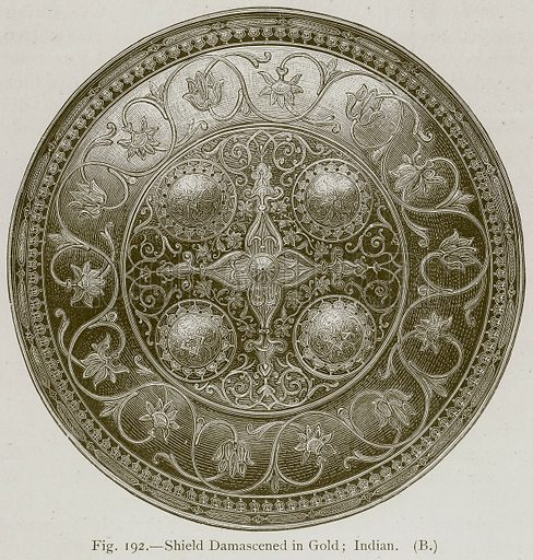 Shield Damascened in Gold; Indian. Illustration for Historic Ornament by James Ward (Chapman and Hall, 1897).