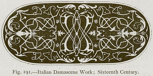 Italian Damascene Work; Sixteenth Century. Illustration for Historic Ornament by James Ward (Chapman and Hall, 1897).