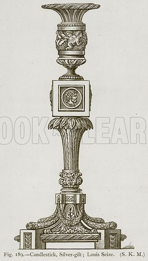 Candlestick, Silver-Gilt; Louis Seize. Illustration for Historic Ornament by James Ward (Chapman and Hall, 1897).