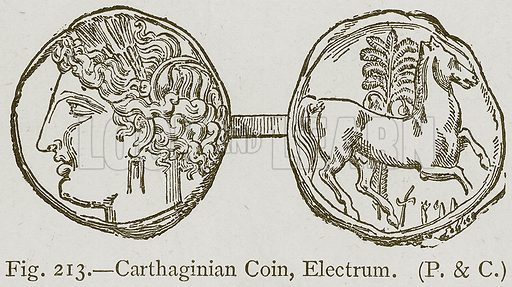 Carthaginian Coin, Electrum. Illustration for Historic Ornament by James Ward (Chapman and Hall, 1897).