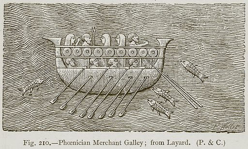 Phoenician Merchant Galley; from Layard. Illustration for Historic Ornament by James Ward (Chapman and Hall, 1897).