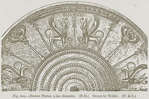 Bronze Platter, 9 ins. diameter. Illustration for Historic Ornament by James Ward (Chapman and Hall, 1897).
