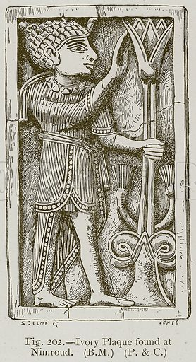 Ivory Plaque found at Nimroud. Illustration for Historic Ornament by James Ward (Chapman and Hall, 1897).