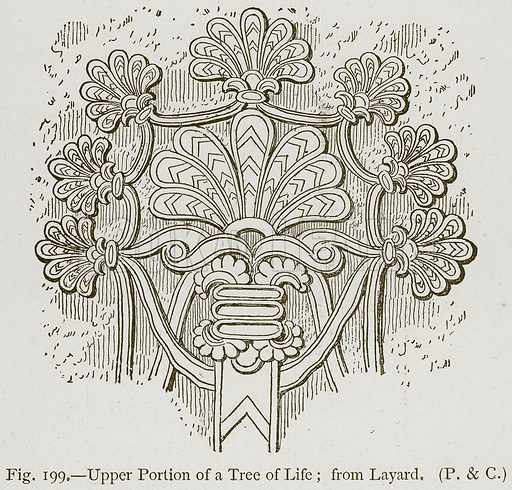 Upper Portion of a Tree of Life; from Layard. Illustration for Historic Ornament by James Ward (Chapman and Hall, 1897).