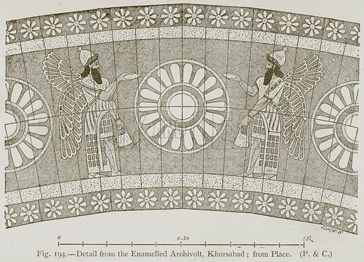 Detail from the Enamelled Archivolt, Khorsabad; from Place. Illustration for Historic Ornament by James Ward (Chapman and Hall, 1897).