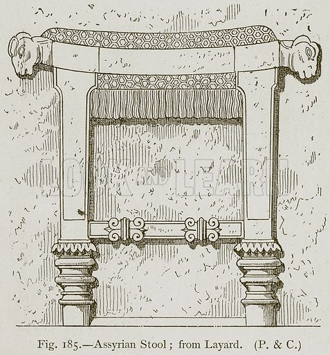 Assyrian Stool; from Layard. Illustration for Historic Ornament by James Ward (Chapman and Hall, 1897).