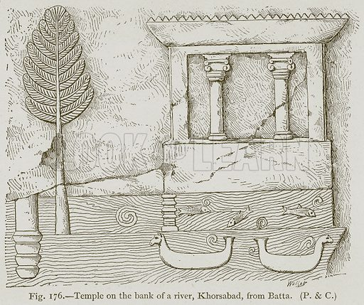 Temple on the Bank of a River, Khorsabad, from Batta. Illustration for Historic Ornament by James Ward (Chapman and Hall, 1897).