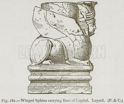Winged Sphinx carrying Base of Capital, Layard. Illustration for Historic Ornament by James Ward (Chapman and Hall, 1897).