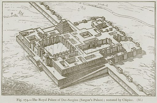 The Royal Palace of Dur-Sarginu (Sargon's Palace); restored by Chipiez. Illustration for Historic Ornament by James Ward (Chapman and Hall, 1897).