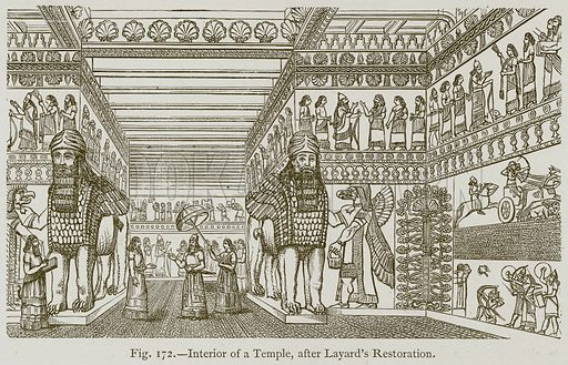 Interior of a Temple, after Layard's Restoration. Illustration for Historic Ornament by James Ward (Chapman and Hall, 1897).