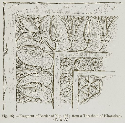 Fragment of Border of Fig. 166; from a Threshold of Khorsabad. Illustration for Historic Ornament by James Ward (Chapman and Hall, 1897).
