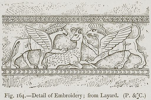 Detail of Embroidery; from Layard. Illustration for Historic Ornament by James Ward (Chapman and Hall, 1897).