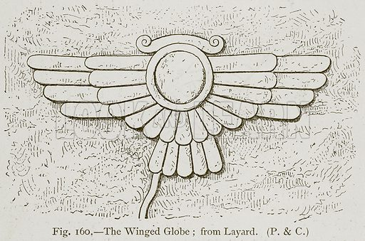 The Winged Globe; from Layard. Illustration for Historic Ornament by James Ward (Chapman and Hall, 1897).