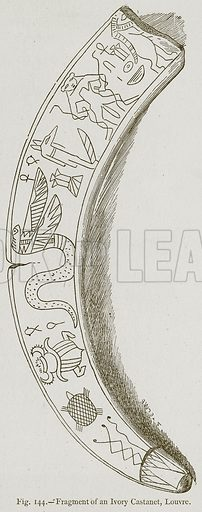 Fragment of an Ivory Castanet, Louvre. Illustration for Historic Ornament by James Ward (Chapman and Hall, 1897).