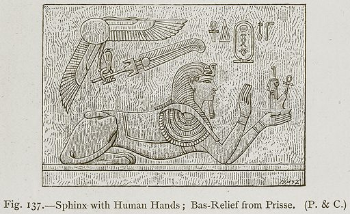 Sphinx with Human Hands; Bas-Relief from Prisse. Illustration for Historic Ornament by James Ward (Chapman and Hall, 1897).
