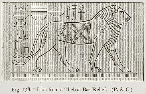 Lion from a Theban Bas-Relief. Illustration for Historic Ornament by James Ward (Chapman and Hall, 1897).